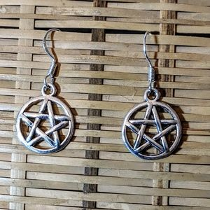 Handmade Jewelry - Pentacle Wiccan Gothic Earrings NWOT